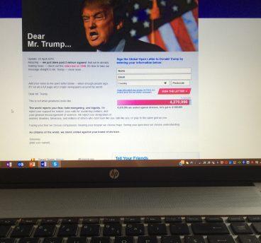 Notitieboek_On petitions_Dear mr Trump